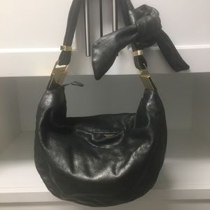 Badgley Mischka pewter/gray leather bow hobo bag